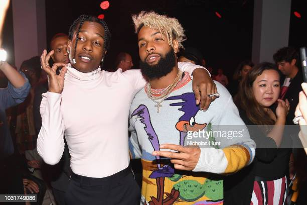 Rapper A$AP Rocky and NFL player Odell Beckham Jr attend the Calvin Klein Collection front Row during New York Fashion Week at New York Stock...