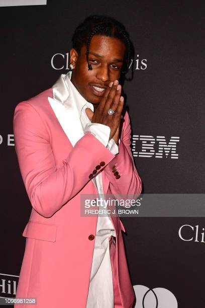 US rapper A$AP Rocky arrives for the traditional Clive Davis party on the eve of the 61th Annual Grammy Awards at the Beverly Hilton hotel in Beverly...