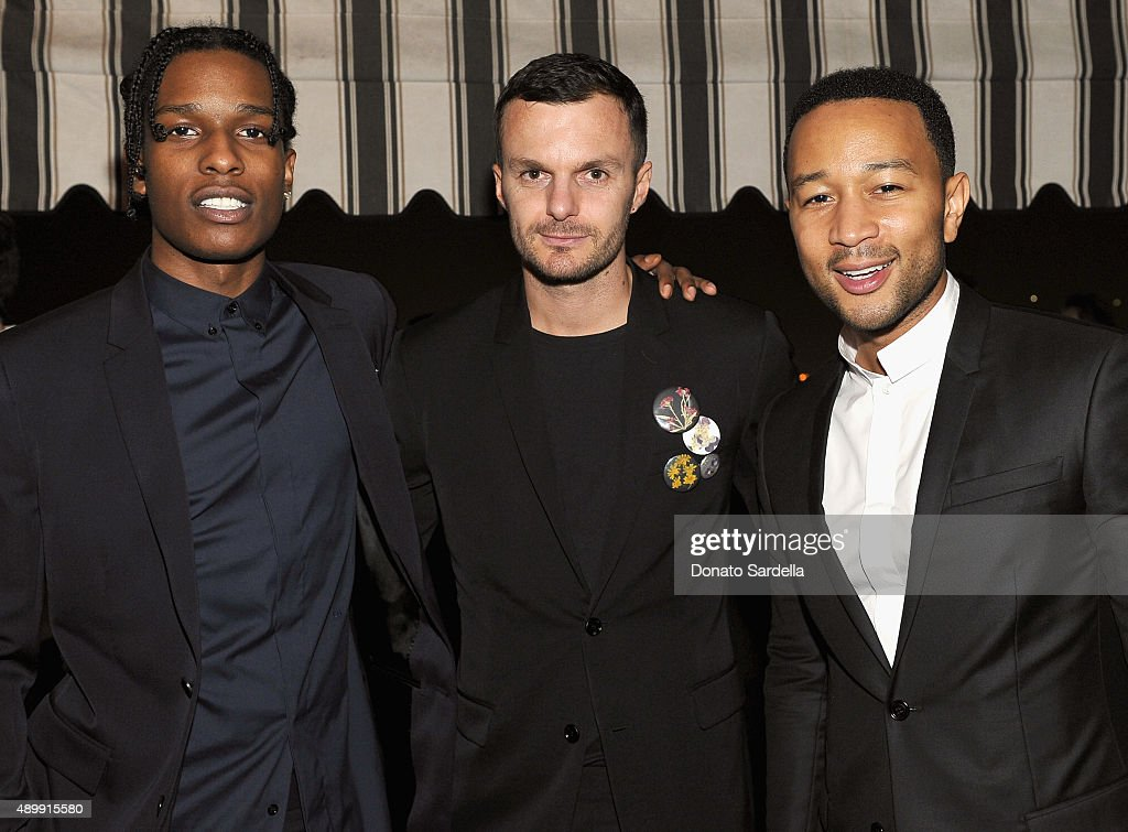 Rapper A$AP Rocky, Artistic Director, Dior Homme, Kris Van Assche and singer/songwriter John Legend attend a cocktail event hosted by Dior Homme's Kris Van Assche at Chateau Marmont on September 24, 2015 in Los Angeles, California.