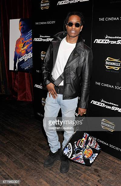 Rapper A$AP Rocky attends DreamWorks Pictures' 'Need For Speed' screening hosted by The Cinema Society and Bushmills on March 11 2014 in New York City