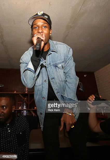 Rapper A$AP Rocky hosts the Samsung Level Up After Party in Austin on October 1 2015 in Austin Texas