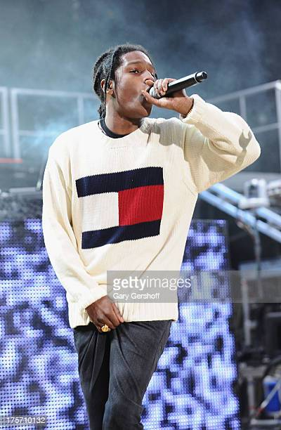 Rapper A$AP Rocky performs during the Under The Influence Of Music Hip Hop Tour at Nikon at Jones Beach Theater on August 6 2013 in Wantagh New York