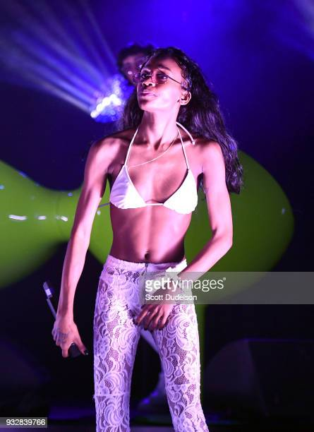 Rapper ABRA performs onstage as a special guest during Charli XCX 'Pop 2' performance at El Rey Theatre on March 15 2018 in Los Angeles California