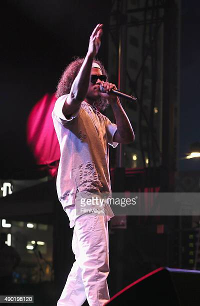 Rapper AbSoul performs onstage during day 2 of the 2015 Life is Beautiful festival on September 26 2015 in Las Vegas Nevada