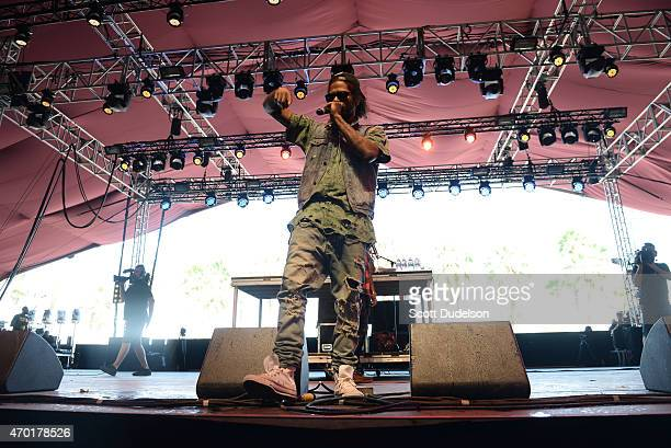 Rapper AbSoul performs onstage during the 2015 Coachella Music Festival at The Empire Polo Club on April 17 2015 in Indio California