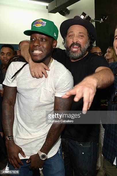 Rapper Ace Hood and artist Mr Brainwash attend Haute Living and Hublot Celebrating Lapo Elkann on December 3 2015 in Miami Florida