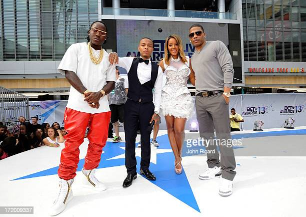 Rapper Ace Hood rapper Bow Wow TV personality Angela Simmons and rapper Nelly attend the 106 Park Stage PreShow during the BET Awards at Nokia...