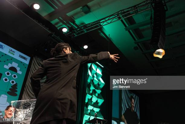 Rapper actor and creative director A$AP Rocky throws Mercedes Benz hats to the audience live on stage during the 2019 SXSW Conference and Festival at...