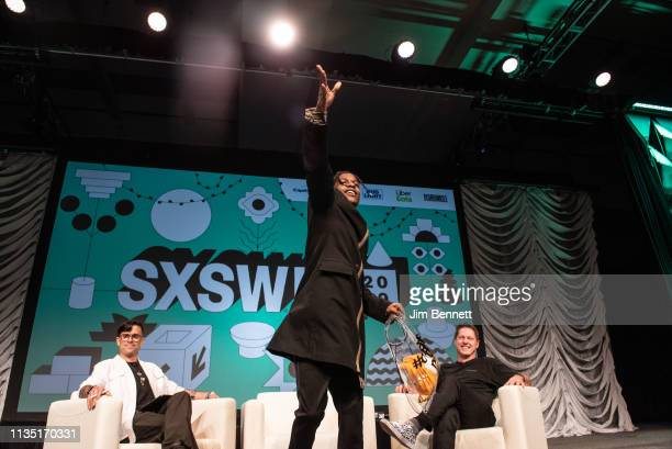 Rapper actor and creative director A$AP Rocky throws Mercedes Benz hats to the audience alongside founder and editorinchief of Cool Hunting Josh...