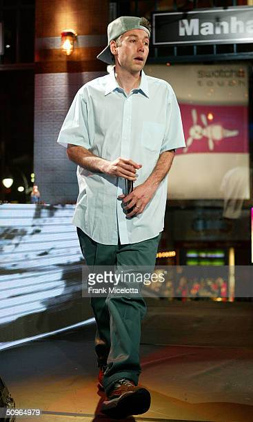 Rapper Adam Yauch 'MCA' of the Beastie Boys appears on a live taping of MTV's 'Live to the 5 Boroughs' in support of their new CD 'To The 5 Boroughs'...