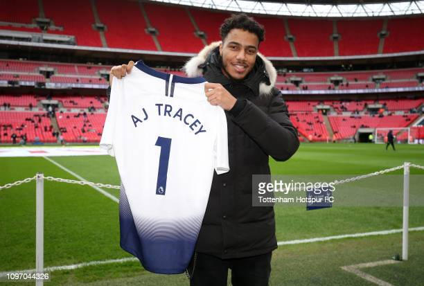Rapper AJ Tracey poses for a picture prior to the Premier League match between Tottenham Hotspur and Leicester City at Wembley Stadium on February 9...