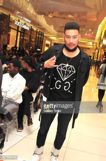 Rapper AKA during Bonang Mathebas From A to B book launch at Sandton Citys Diamond Walk on August 03 2017 in Johannesburg South Africa The book is...