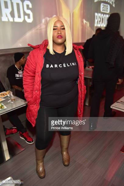 Rapper Akbar V attends the 2018 Interscope National Championship Watch Party at Bytes Restaurant on January 8 2018 in Atlanta Georgia