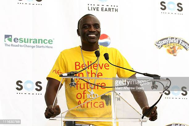 Rapper Akon poses in the press room at the Live Earth New York Concert held at Giants Stadium on July 7, 2007 in East Rutherford, New Jersey