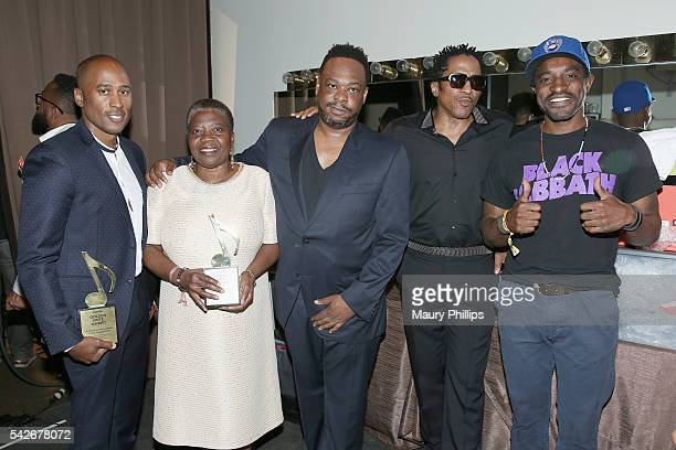 Rapper Ali Shaheed Muhammad of A Tribe Called Quest Cheryl BoyceTaylor mother of the late rapper Phife Dawg and rappers Jarobi White and QTip of A...