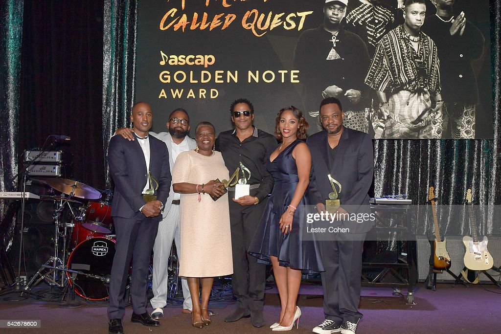 Rapper Ali Shaheed Muhammad of A Tribe Called Quest, DJ Rasta Root, Cheryl Boyce-Taylor, mother of the late rapper Phife Dawg, rapper Q-Tip of A Tribe Called Quest, ASCAP SVP of Membership Nicole George Middleton, and rapper Jarobi White of A Tribe Called Quest accept the ASCAP Golden Note Award during the 2016 ASCAP Rhythm & Soul Awards at the Beverly Wilshire Four Seasons Hotel on June 23, 2016 in Beverly Hills, California.