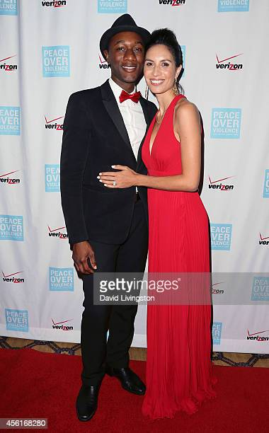 Rapper Aloe Blacc and his wife, rapper Maya Jupiter attend the 43rd Annual Humanitarian Awards at the Langham Huntington Hotel and Spa on September...