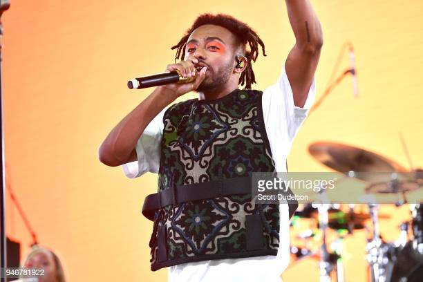 Rapper Amine performs on the Mojave stage during week 1 day 3 of the Coachella Valley Music and Arts Festival on April 15 2018 in Indio California