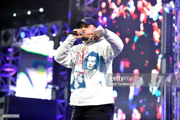 Rapper Amir Obe performs onstage during day two of the Rolling Loud Festival at NOS Events Center on December 17 2017 in San Bernardino California