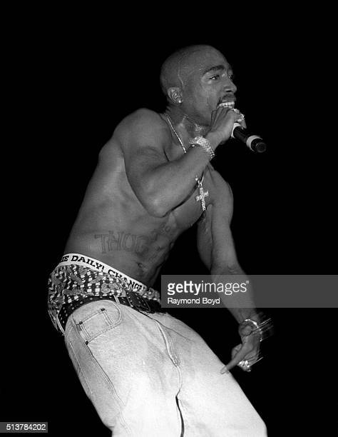 Rapper and actor 2 Pac performs at the Mecca Arena in Milwaukee Wisconsin in 1994