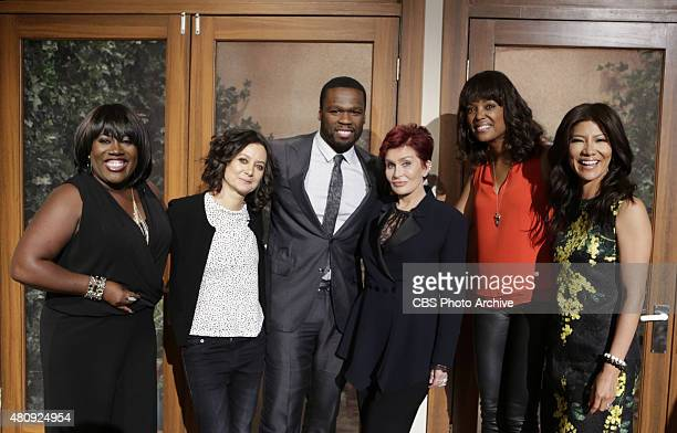 Rapper and actor 50 Cent discusses his new film on The Talk Tuesday July 14 2015 on the CBS Television Network From left Sheryl Underwood Sara...