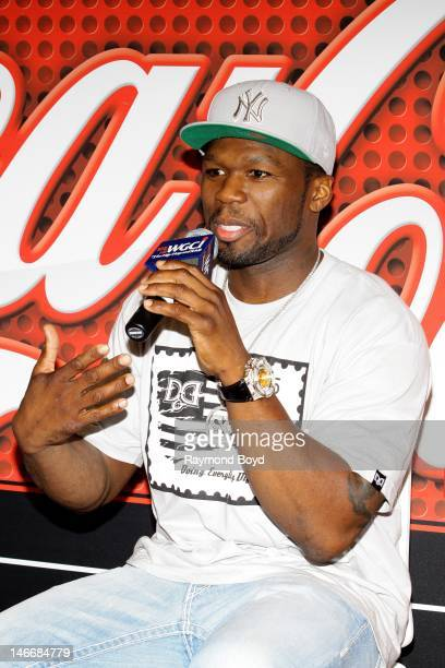 Rapper and actor 50 Cent is interviewed in the WGCIFM 'CocaCola Lounge' in Chicago Illinois on JUNE 21 2012