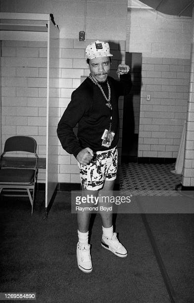 Rapper and actor Ice-T poses for photos backstage at the Mecca Arena in Milwaukee, Wisconsin in August 1988.