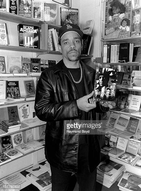 Rapper and actor IceT poses with his book 'The Ice Opinion' at Afrocentric Bookstore in Chicago Illinois in 1994