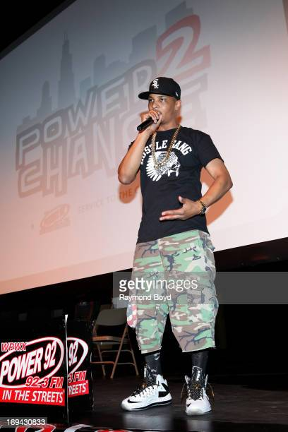 Rapper and actor TI chats with students at Gwendolyn Brooks College Prep during radio station Power 92's 'Power2Change' Youth Rally which promotes...