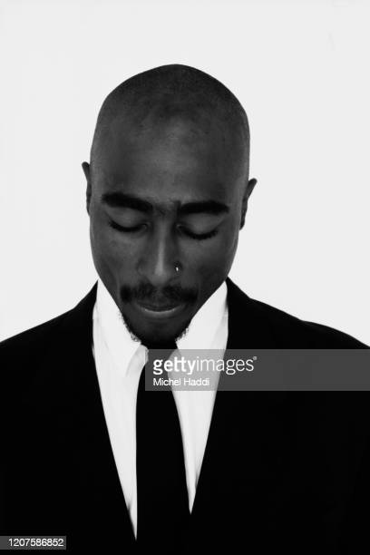 Rapper and actor Tupac Shakur is photographed on April 23 1993 in Los Angeles California