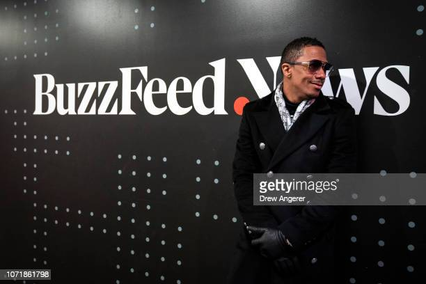 Rapper and comedian Nick Cannon poses for a photo after appearing on a live broadcast of of BuzzFeed News' AM To DM morning show at BuzzFeed...