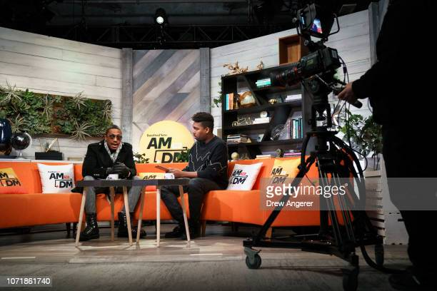 Rapper and comedian Nick Cannon talks with host Saeed Jones during a live recording of of BuzzFeed News' AM To DM morning show at BuzzFeed...