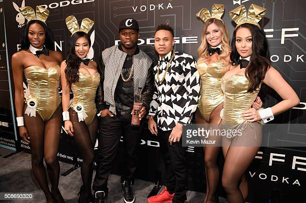 Rapper and entrepreneur 50 Cent and actor Rotimi arrive at the The Playboy Party during Super Bowl Weekend with Playboy Playmates Eugena Washington...