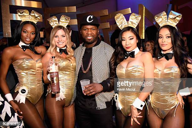 Rapper and entrepreneur 50 Cent arrives at the The Playboy Party during Super Bowl Weekend with Playboy Playmates Eugena Washington Carly Lauren...