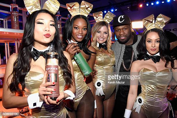 Rapper and entrepreneur 50 Cent serves up his superpremium EFFEN Vodka at the The Playboy Party during Super Bowl Weekend with Playboy Playmates...