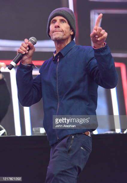 """Rapper and founding member of the Beastie Boys, Michael Diamond, better known as Mike D is shown performing on stage during a """"live"""" concert..."""