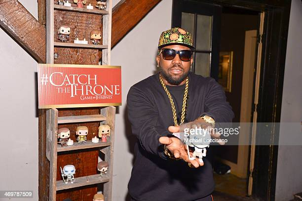 Rapper and Host Big Boi with a Game of Thrones Pop Doll at the HBO Game of Thrones Catch The Throne All Star Weekend Event at Republic on February 16...