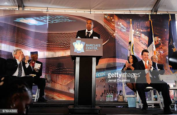 Rapper and NETS investor Shawn JayZ' Carter speaks during the ceremonial groundbreaking for Barclays Center at Atlantic Yards on March 11 2010 in New...