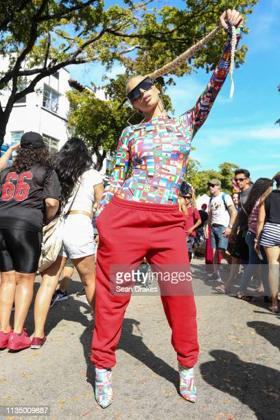 Rapper and reality TV personality Veronica Vega of 'Love Hip Hop Miami' poses during the annual Calle Ocho Festival in the Little Havana community on...