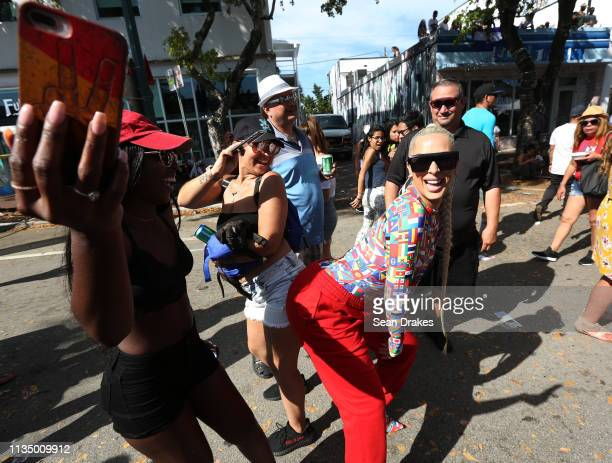 Rapper and reality TV personality Veronica Vega of Love Hip Hop Miami twerks with fans during the annual Calle Ocho Festival in the Little Havana...