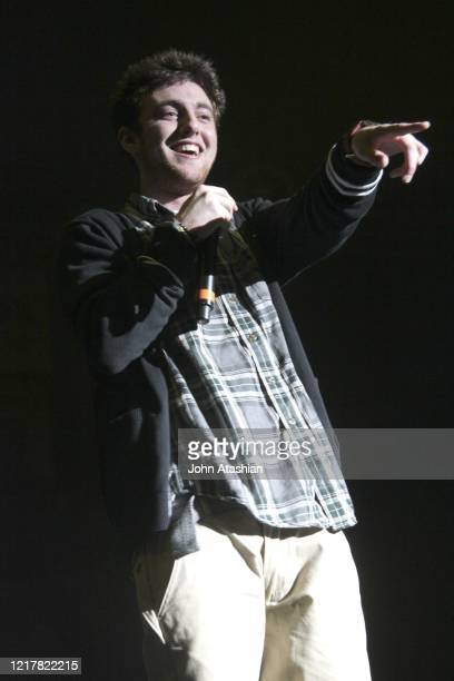 """Rapper and singer Mac Miller is shown performing on stage during a """"live"""" concert appearance on April 7, 2011."""