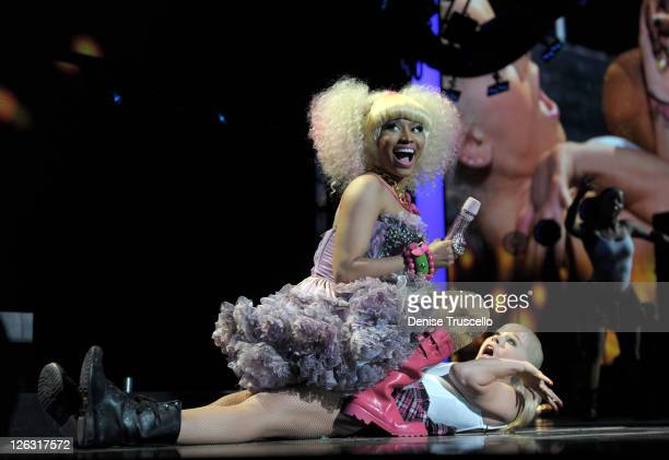 Rapper and singer Nicki Minaj performs onstage at the iHeartRadio Music Festival held at the MGM Grand Garden Arena on September 24, 2011 in Las...