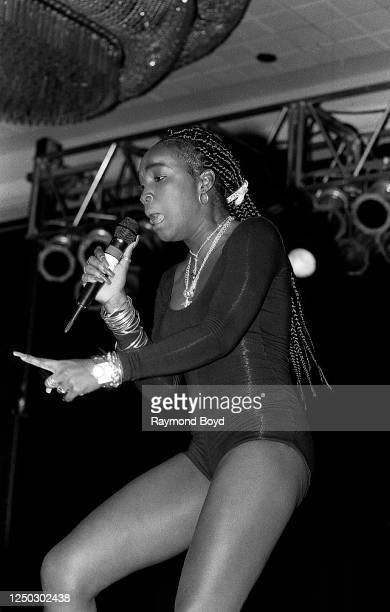 Rapper and singer Patra performs at the Hyatt Hotel in Chicago, Illinois in June 1994.