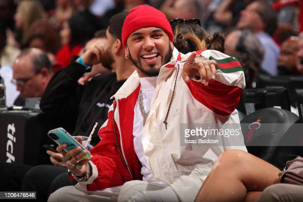 Rapper, Anuel AA attends the game between the Dallas Mavericks and the Miami Heat on February 28, 2020 at American Airlines Arena in Miami, Florida....