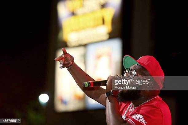 Rapper artist Freeway performs on stage at Chene Park on September 4 2015 in Detroit Michigan