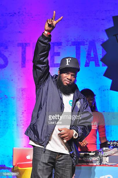 Rapper artist Freeway speaks on stage at The Get Schooled National Challenge Tour at Abraham Lincoln High School on October 1 2010 in Philadelphia...