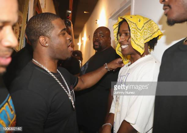 Rapper ASAP Ferg and ASAP Rocky pose backstage at Terminal 5 on July 26 2018 in New York City