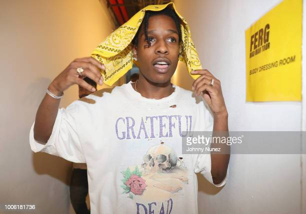 Rapper ASAP Rocky poses backstage at Terminal 5 on July 26 2018 in New York City