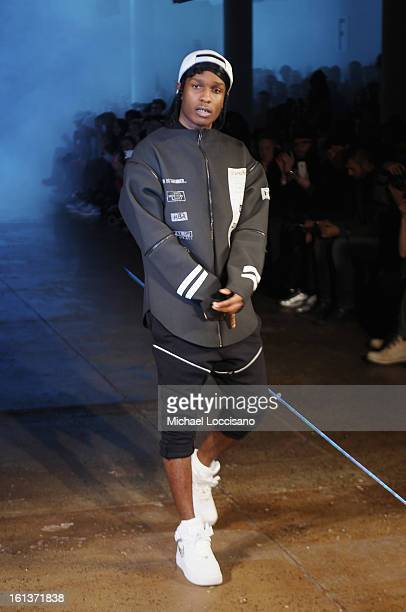 Rapper ASAP Rocky walks the runway at the Hood By Air fall 2013 fashion show during MADE Fashion Week at Milk Studios on February 10 2013 in New York...