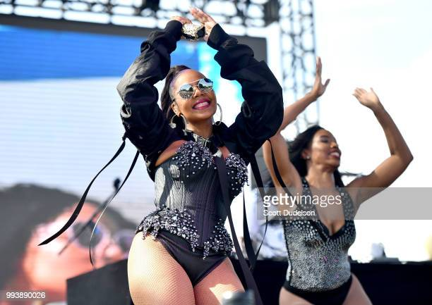 Rapper Ashanti performs onstage during the Summertime in the LBC music festival on July 7 2018 in Long Beach California
